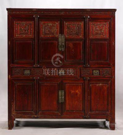CHINESE, CARVED AND PARTIAL PAINTED CABINET