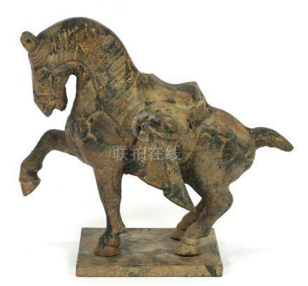 """CHINESE TANG INFLUENCE BRONZE HORSE H 5"""" L 6"""""""
