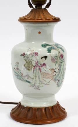 """CHINESE, PORCELAIN LAMP, 19TH C. H 10"""""""