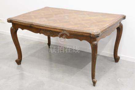 Table de salle à manger en chêne de style Louis XV (76 x 145 x 95cm)