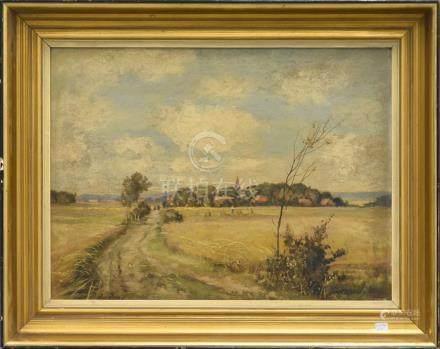 """Huile sur panneau """"Paysage moisson"""" signée E. Werth (37 x 50cm)"""