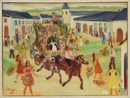 """Huile sur toile signée Maringer Lucien """"Corso fleuri à Sampont"""" (37 x 48cm)"""