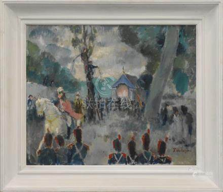 """Huile sur toile Fernand Verhaegen """"Le jardinet lors de la trinité à Walcourt"""" (50 x 60cm)"""