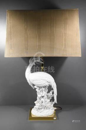 Lampe des années 70 en faïence à décor d'oiseau (Ht totale 83cm)