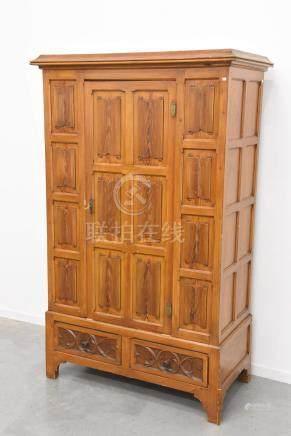 Armoire une porte à deux tiroirs de style Néogothique (190 x 120 x 60cm)