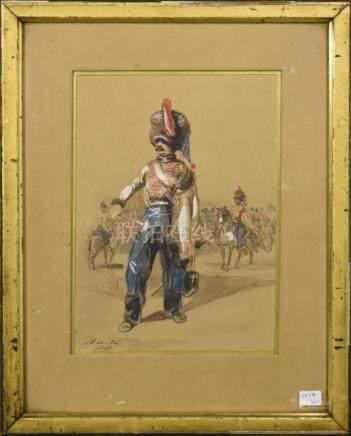 """Aquarelle """"Soldats"""" signée A de Noé 1843 (23 x 16cm)"""