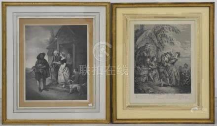Deux gravures (cadres 65 x 56cm)