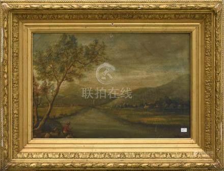"""Huile sur toile """"Paysage avec pêcheur"""" signée Van Lokhoest 1875 (35 x 50cm)"""