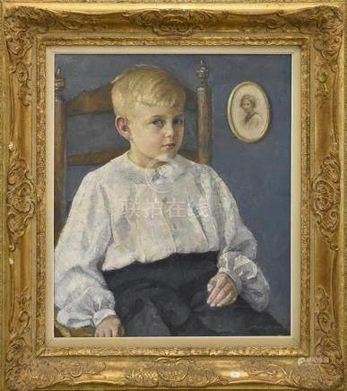 """Huile sur toile """"Portrait de jeune garçon"""" (65 x 55cm, petit trou à la toile)"""