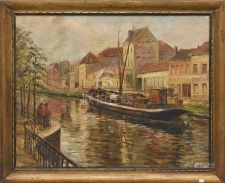 """Huile sur toile """"Canal à Braine Le Comte"""" par René de Baugnies (65 x 80cm)"""