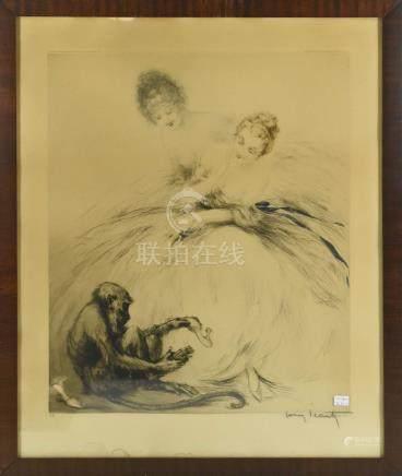 """Gravure de Louis Icart """"Jeunes femmes au singe"""" Paris 1920 (46 x 38cm)"""