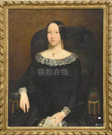 """Huile sur toile, portrait """" Jeune dame"""" 19 ème(100 x 80cm)"""