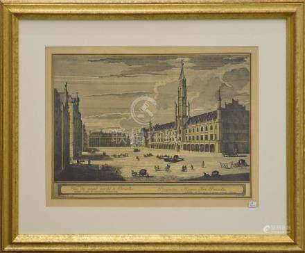 """Gravure """" Grand place de Bruxelles"""" (cadre 51 x 63cm)"""