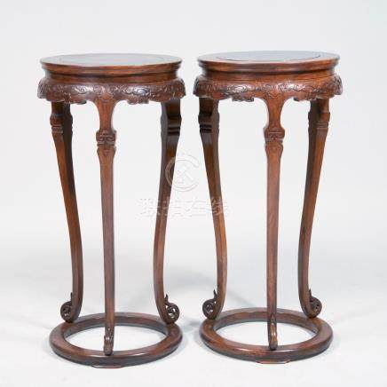 Pair of Chinese Carved Hardwood Stands