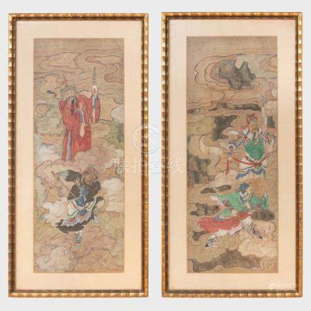 Chinese School: Deities Amongst Clouds: A Pair