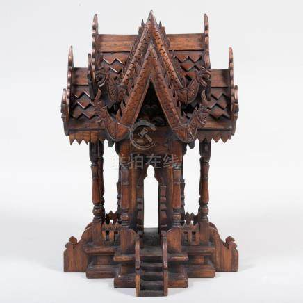 Asian Carved Wood Spirit House