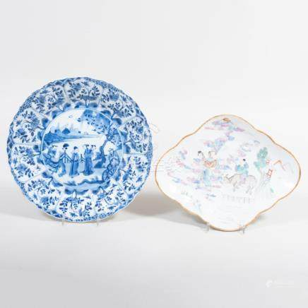 Chinese Porcelain Famille Rose Shaped Dish and a Chinese Por
