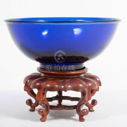 Chinese Cobalt Glass Bowl and Stand