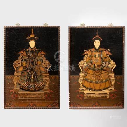 Chinese School: Pair of Ancestor Portraits