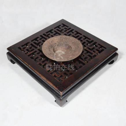 Chinese Iron and Carved Hardwood Braizer