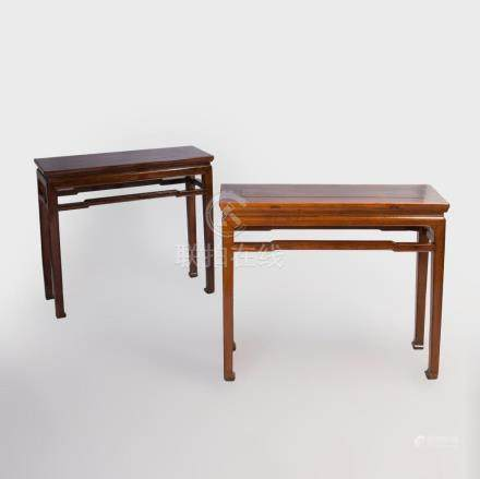 Two Chinese Elm Console Tables