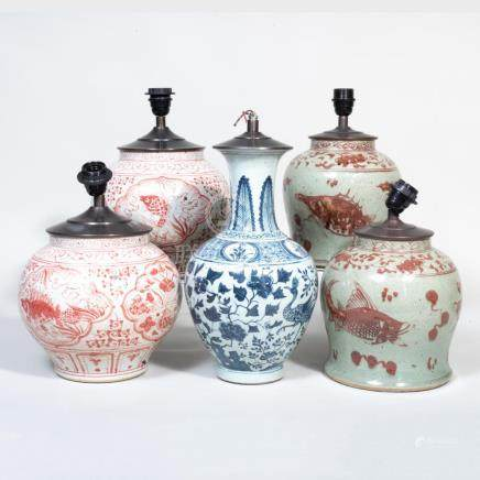 Group of Five Asian Porcelain Table Lamps