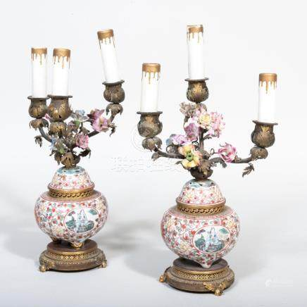 Pair of Gilt-Metal-Mounted Chinese Porcelain Censer Mounted