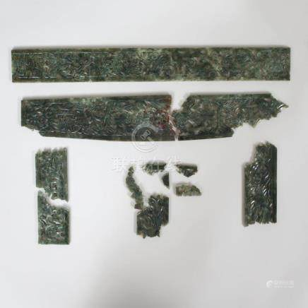 Chinese Spinach Green Jade Pierced Panels