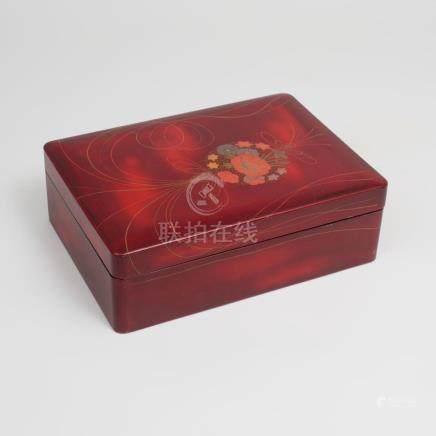 Japanese Parcel-Gilt Burgundy Lacquer Box