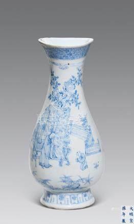 十七世紀 青花庭院人物紋壁瓶