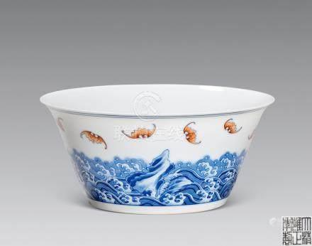 青花礬紅壽山福海馬蹄碗