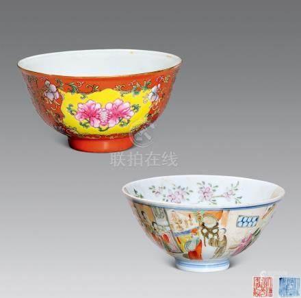 清 粉彩碗兩件