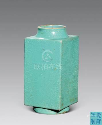 民國 綠釉白花龍紋琮瓶