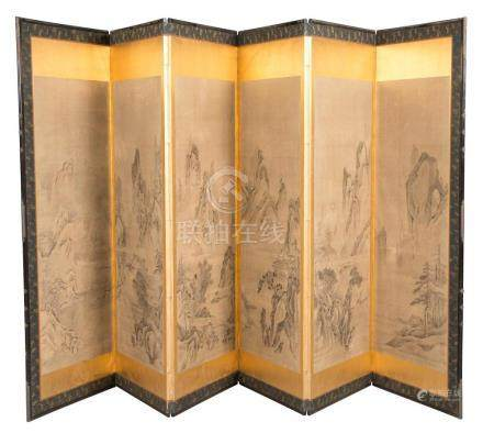 Japanese Painted Paper and Silk-Lined Six-Panel Screen