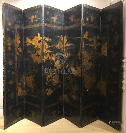 Chinese Export Black Lacquer and Parcel-Gilt Six-Panel Scree