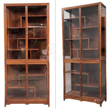 Pair of Chinese Hardwood and Glazed Cabinets