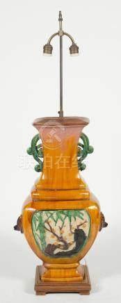 Chinese Glazed Pottery Vase as Lamp