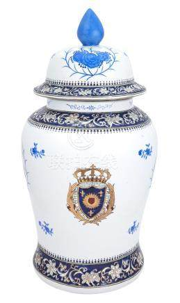 Chinese Blue and White Armorial Porcelain Vase and Cover