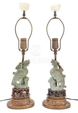 Pair of Chinese Jade Figures of a Phoenixes as Lamps