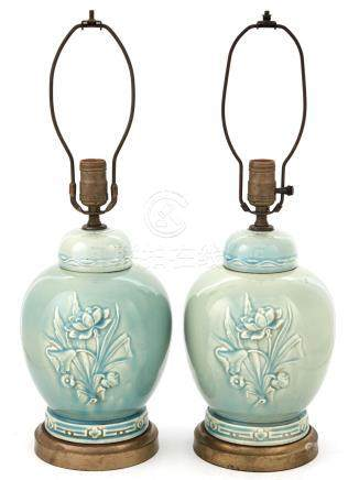 Pair of Chinese Style Celadon Glazed Covered Jars as Lamps