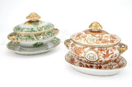 Two Chinese Export Porcelain Sauce Tureens, Covers and Stand