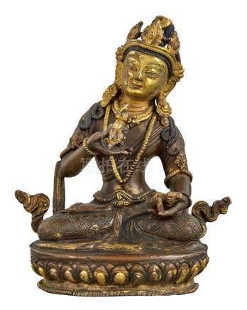 Tibetan Parcel Gilt-Bronze Figure of Tara