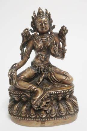 Tibetan Bronze Seated Female Figure