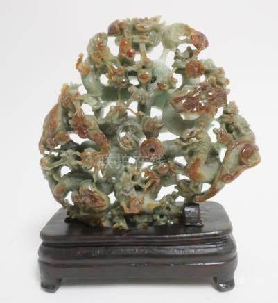 Chinese Jadeite Dragon Group