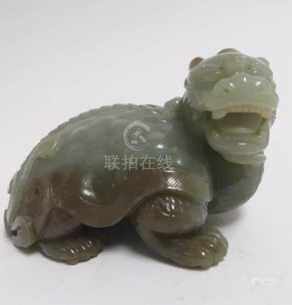 Chinese Celadon Jade Recumbent Kylin
