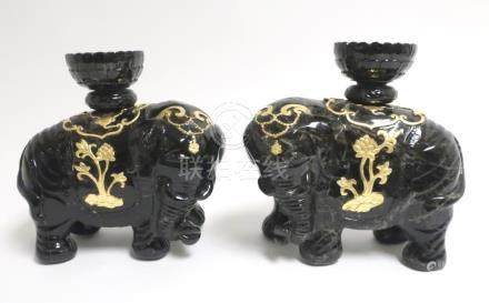 Pair of Black Jade Chinese Elephants