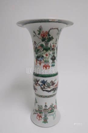 Chinese Famille Verte Gu Form Vase