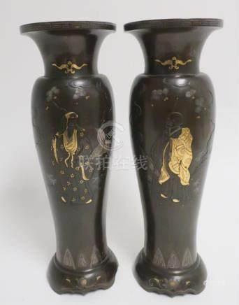 Japanese Pair Inlaid Bronze Vases