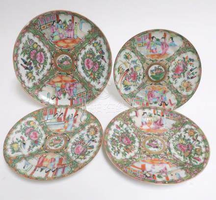 4 Chinese Rose Medallion Plates, Late 19th C
