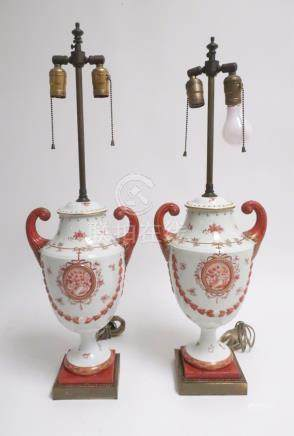 Pair of Chinese Export Style Porcelain Lamps